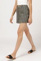 Azalea Denim Button Front Striped Skirt