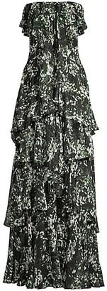 Flor Et. Al Charlotte Tiered Floral Strapless Gown