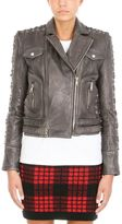 Balmain Black Biker Cropped Leather Jacket