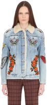 Gucci Embroidered Denim & Shearling Jacket