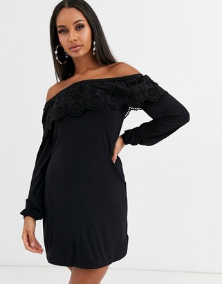 Lipsy broiderie bardot dress-Black