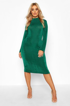 boohoo Plus Textured Slinky High Neck Midi Dress