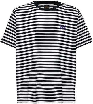 Needles Logo Embroidered Striped Jersey T-Shirt