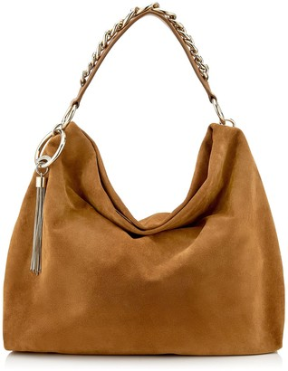 Jimmy Choo CALLIE/L Cuoio Suede Slouchy Shoulder Bag with Gold Chain Strap