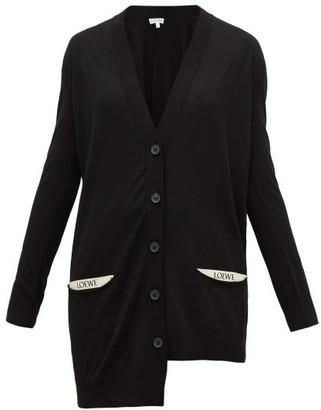 Loewe Asymmetric Pocket-logo Wool Cardigan - Womens - Black