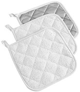 "DII 100% Cotton, Machine Washable, Heat Resistant, Everyday Kitchen Basic, Terry Pot Holder, 7 x 7"", Set of 3, White"