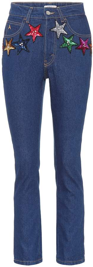 ATTICO The  sequined high-waisted jeans