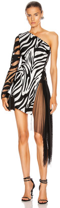 David Koma Zebra Macrame and Tulle One Shoulder Dress in White & Black | FWRD