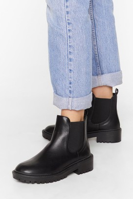 Nasty Gal Womens Keepin' It Low-Key Faux Leather Cleated Boots - Black
