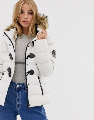 Brave Soul wizard padded coat with faux fur hood-White