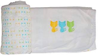Camilla And Marc Les Chatounets Cat Head Cot Blanket 80 x 80 cm