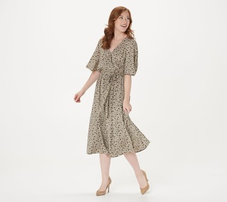 Du Jour Printed Flutter Sleeve Faux Wrap Dress