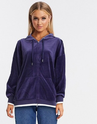 Juicy Couture Black Label Ombre Studs Velour Hooded Jacket Royal in blue