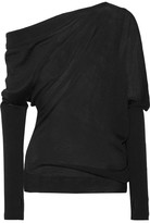 Tom Ford One-shoulder Draped Cashmere And Silk-blend Sweater - Black