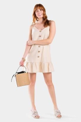 francesca's Sienna Button Shift Dress - Sand