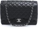 Chanel Black Caviar Maxi Double Flap Bag SHW
