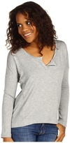 Splendid Super Soft Knit Henley (Heather Grey) - Apparel