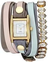 La Mer Women's Quartz Metal and Leather Casual WatchMulti Color (Model: LMMULTI2518)