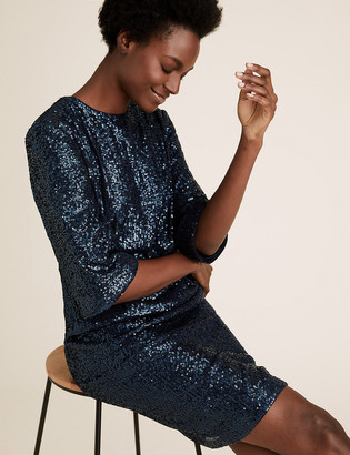 Marks and Spencer Sequin Knee Length Shift Dress