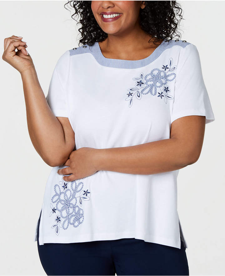11400030d9 Alfred Dunner White Plus Size Tops - ShopStyle