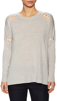 525 America Wool Lace Up Ribbed Sweater