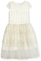 David Charles Childrenswear Cap-Sleeve Embroidered Tulle Party Dress, White, Size 6