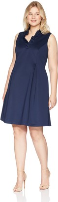 Jessica Howard JessicaHoward Plus Size Womens Sleeveless Ruffle V-Neck Dress