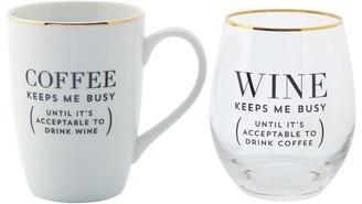 Indigo Coffee Keeps Me Busy Mug-And-Wine Set