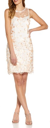 Adrianna Papell Floral Embroidery Applique Sleeveless Cocktail Sheath Dress