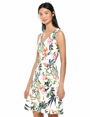 Taylor Dresses Women's Sleeveless V Neck Tropical Print Flounce Hem Dress