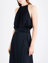 Protagonist Ladies Onyx Pleated Soft Satin-Crepe Top