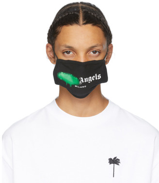 Palm Angels Black and Green Spray Logo Mask
