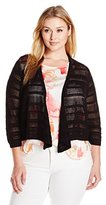 Knits by Hampshire Women's Plus-Size 3/4 Sleeve Point Elle Stripe Short Cardigan