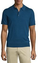 Neiman Marcus Short-Sleeve Cashmere-Silk Polo Shirt, Navy