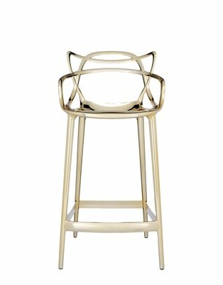 Kartell Masters Counter Stool Metallic Frame Color: Gold
