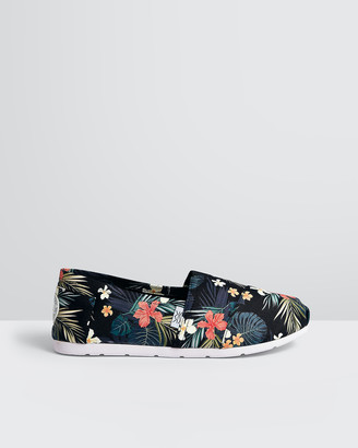 The Bondi Shoe Club - Women's Black Espadrilles - The Tamarama Tropical Midnights - Size One Size, 5 at The Iconic