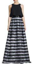 Theia Sleeveless Popover Striped Gown