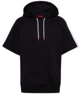 HUGO BOSS Short Sleeved Cotton Hoodie With Logo Tape Sleeves - Black