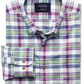 Charles Tyrwhitt Slim fit poplin pink and green check shirt
