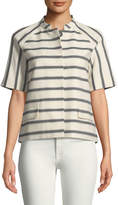 Lafayette 148 New York Ethan Half-Sleeve Snap-Front Striped Jacket