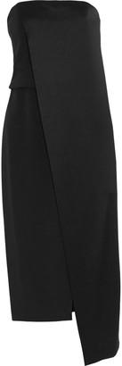 Halston Strapless Satin Midi Dress