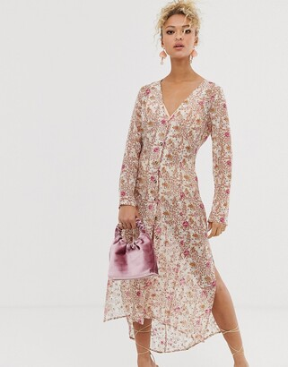 NEVER FULLY DRESSED sheer floral print shirt dress in multi