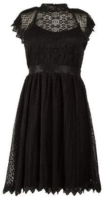 Dorothy Perkins Womens *Tfnc Black Lace Pleated Dress, Black