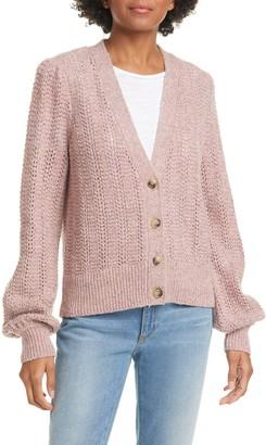 Joie Bilina Pointelle Stitch Wool & Silk Blend Cardigan