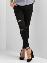 Gap Maternity full panel destructed true skinny ankle jeans
