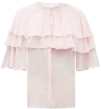 Giambattista Valli Ruffled Silk-crepe Blouse - Womens - Light Pink