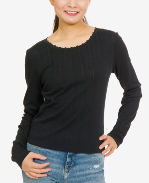 Hippie Rose Juniors' Pointelle-Knit Top