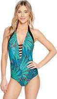 Jantzen Women's Slim Palm Springs Plunge Halter One Piece Swimsuit