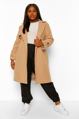 boohoo Plus Wool Look Tortoise Look Buckle Coat