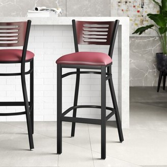 "Latitude Run Pyron 32"" Bar Stool Color: Red, Upholstery: Burgundy, Pack Size: 1"